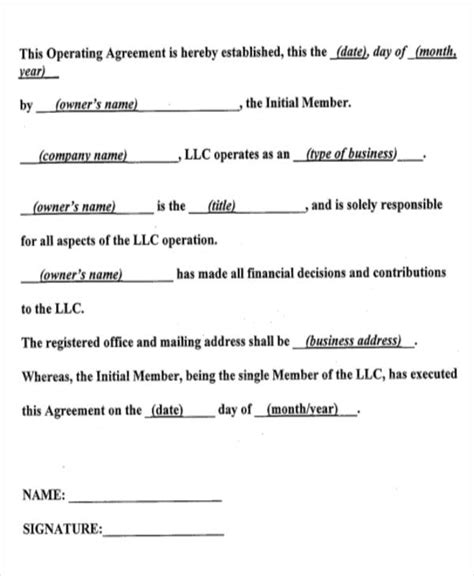 10 Operating Agreements Sles Exles Templates Sle Templates Operating Agreement Template Pdf