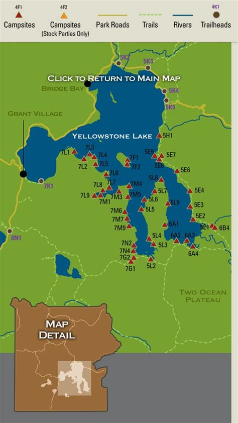map of united states showing yellowstone national park 17 images about backcountry csites in yellowstone