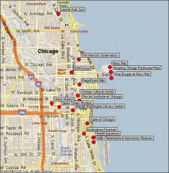 Chicago Sightseeing Map by Downtown Chicago Attractions Map