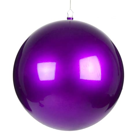 purple metallic finish shatterproof bauble single 400mm