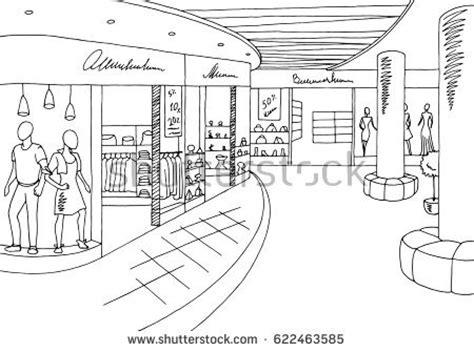 Floor Plan Sketch Free shopping mall graphic black white interior stock vector