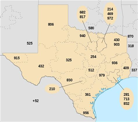 texas area code map list of texas area codes