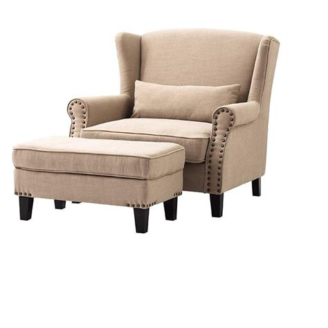 Home Decorators Ottoman Home Decorators Collection Zoey Beige Linen Arm Chair With Ottoman 1601200840 The Home Depot
