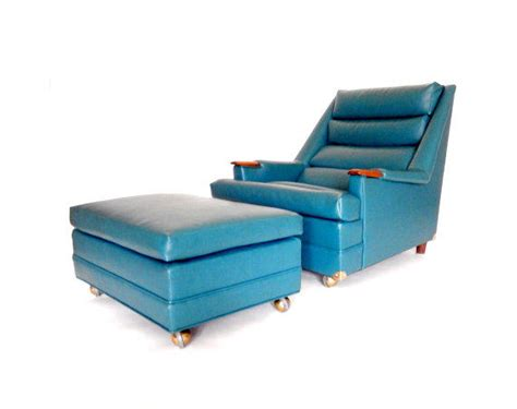 teal chair and ottoman mid century chair and ottoman teal blue from stonesoupology on