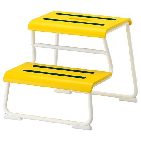 ikea step ladder glotten step stool yellow white ikea