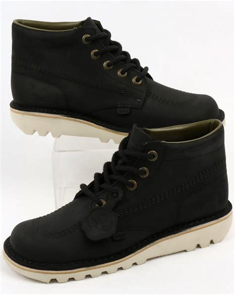 Kickers Boot Black Leather kickers kick hi leather boots black shoe chunky mens