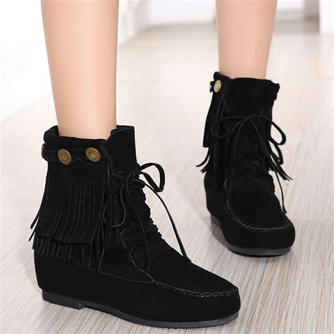 stitching wedge weaving ankle boots in black