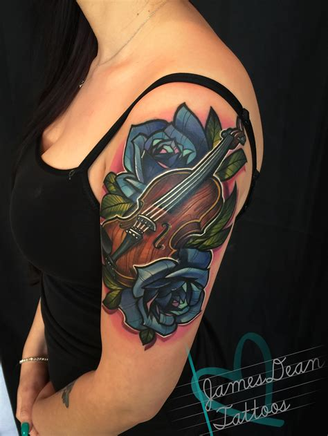 full color violin tattoo by james dean at certified