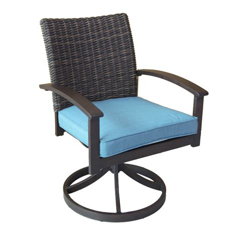 Patio Chairs With Cushions Shop Allen Roth Atworth 2 Count Brown Aluminum Patio Dining Chair With Peacockblue Cushion At