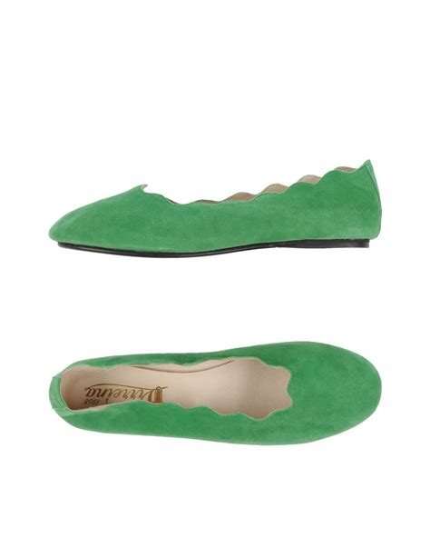 green shoes flats lyst virreina ballet flats in green