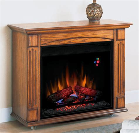 lancaster oak electric fireplace roll away mantel package