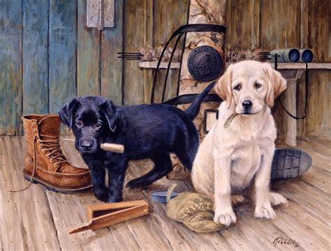 puppies puppies artist labrador and golden retriever puppies painted by jim killen 28