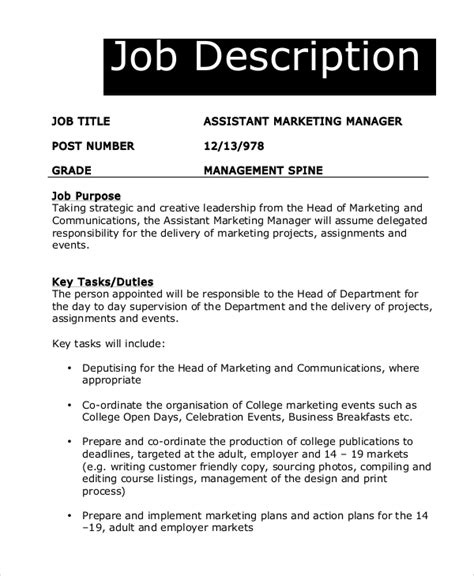 8 Marketing Manager Job Description Sles Sle Templates Marketing Assistant Description Template
