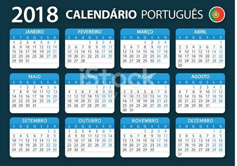 Calend 2018 Portugal Feriados Calendar 2018 Portugal Blue Vetor E Ilustra 231 227 O Royalty