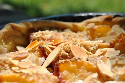 tarte aux p 234 ches fa 231 on crumble recette