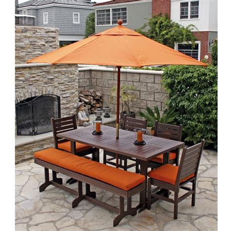 6 Chair Patio Dining Set Eagle One Monterey Recycled Plastic 6 Foot Patio Dining Set With Bench Ultimate Patio