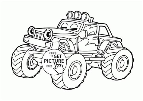 funny monster truck coloring page for kids transportation