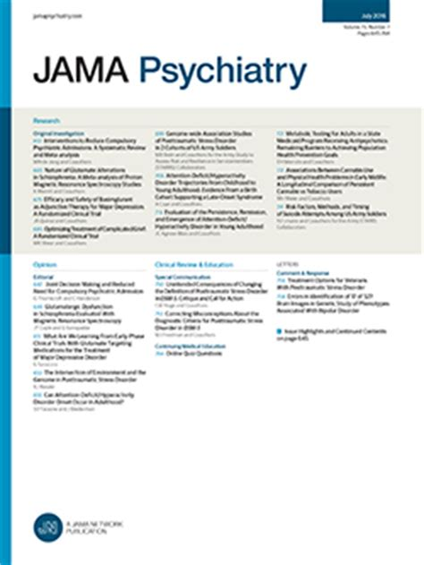 Research Letter Jama Psychiatry Subscriptions And Products From Jama And The Specialty Journals The Jama Network