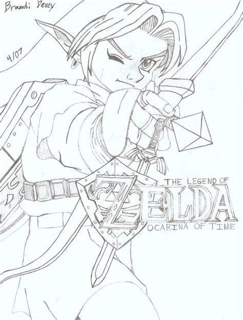 Zelda Ocarina Of Time By Bluepelt On Deviantart Coloring Page Of Legend Of Ocarina Of Time