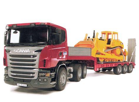 Mainan Anak Scania R Series Low Loader Truck With Cat Bulldozer scania r series low loader with cat bulldozer collector models