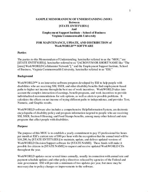 Exle Letter Of Memorandum Of Agreement 9 Exles Of Memorandum Memo Formats