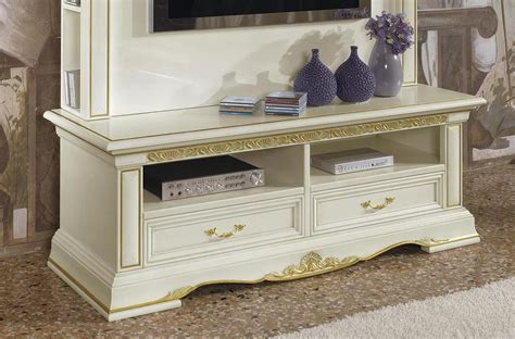 luxury tv luxury tv stand in carved wood with 2 drawers idfdesign
