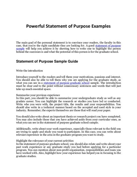 statement of purpose sle your complete guide to an