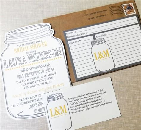 recipe cards for bridal shower invitations jar bridal shower invitations and recipe cards