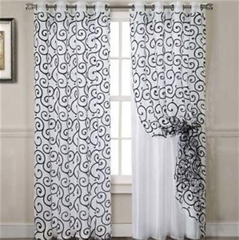 2 curtain panel set swirls black white modern sheer window