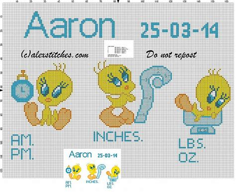 Birth Record Cross Stitch Patterns Free Birth Records Boy With Tweety Bird Cross Stitch Pattern Free Cross Stitch Patterns