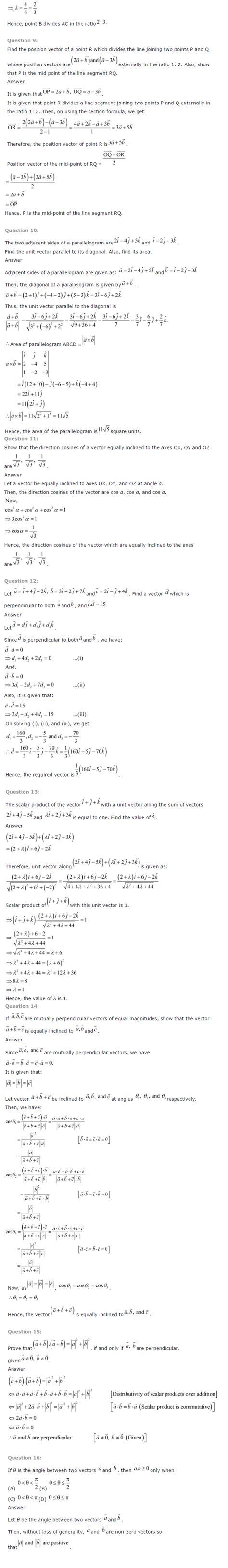 ncert solutions for class 12 maths chapter 10 vector