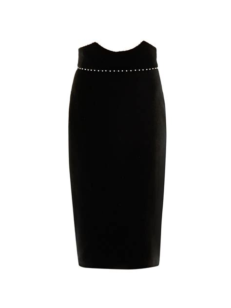 mcqueen velvet pencil skirt in black lyst