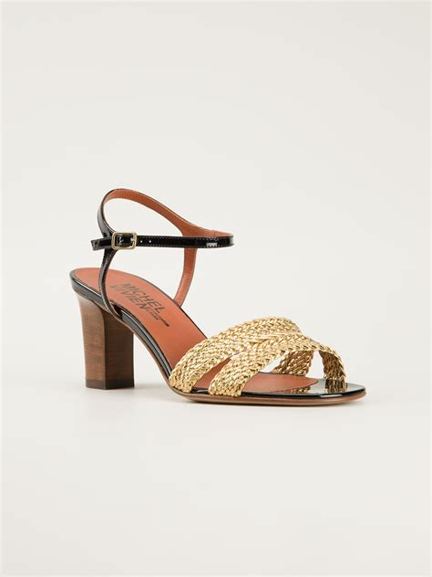 chunky heel sandals michel vivien chunky heel sandals in gold metallic lyst