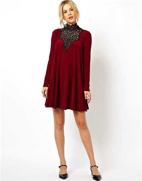 asos lace insert swing dress in black lyst