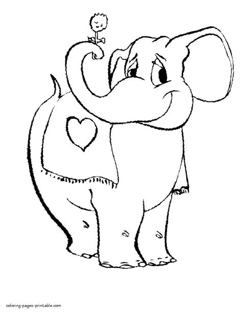 elephant valentine coloring page free coloring valentine pages elephant with flower