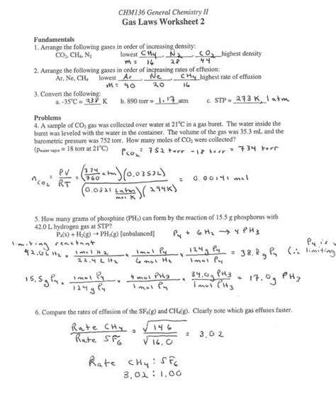 Chemistry Gas Laws Worksheet Answers by General Chemistry