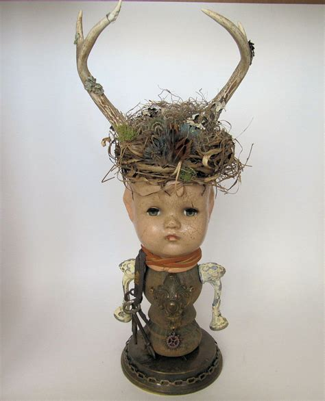 doll assemblage vintage doll assemblage with horns by