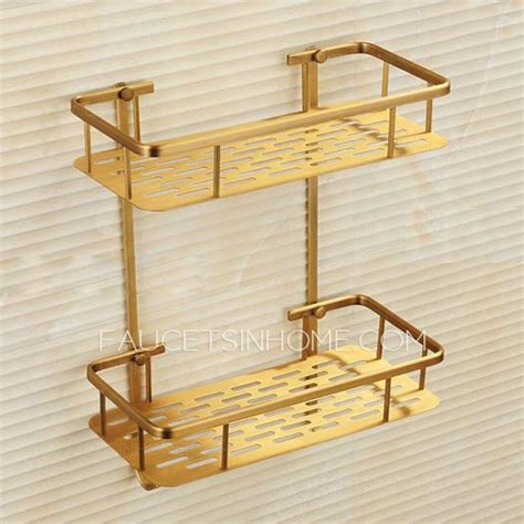 brass material layers of bathroom shelf