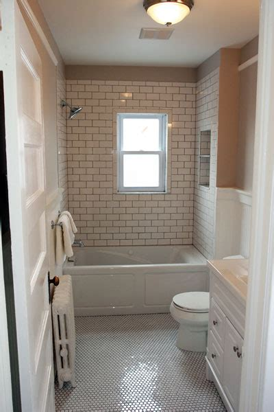 Mosaic Bathrooms Ideas by Transitional Bathroom With Subway Tiles And Wainscoting