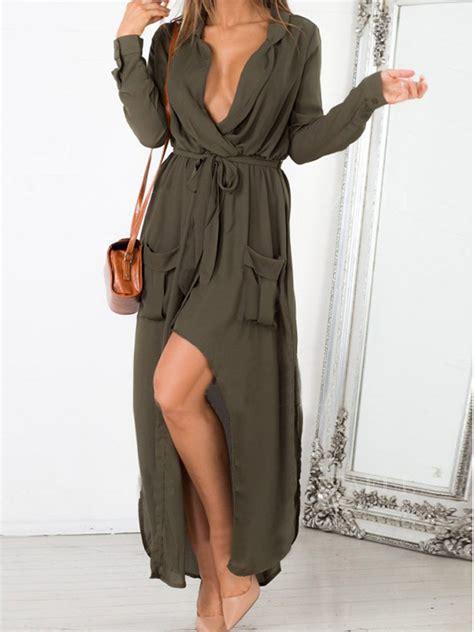 Carolline Longsleeve Maxi Denim Diskon olive green bow tie side split pocket wrap ruched dress choies