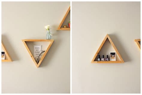 diy triangle shelves design sponge