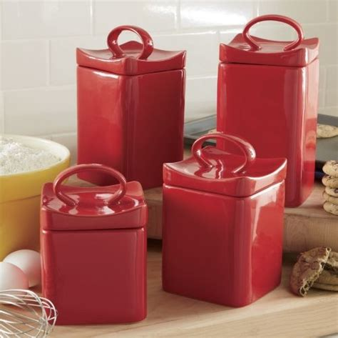 red canister sets for kitchen cherry red ceramic square canister set modern kitchen