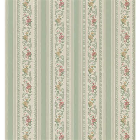 Striped Bathroom Wallpaper by Brewster Cameo Rose Iv Green Pomander Floral Stripe