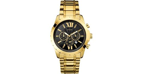 Guess Stainles Gold 1 guess s chronograph gold tone stainless steel bracelet 45mm u0193g1 in metallic for lyst