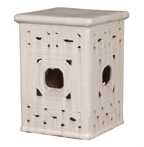 lattice garden stool square lattice pierced garden seat stool white glaze