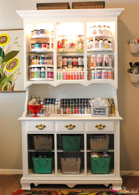 diy craft room organization craft storage from an hutch bigdiyideas