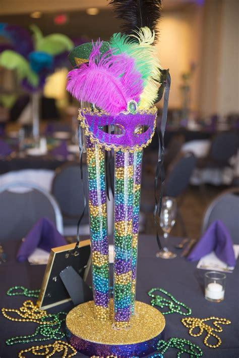 Mardi Gras Centerpiece For A Bat Mitzvah Beads Masks Mardi Gras Centerpiece Ideas
