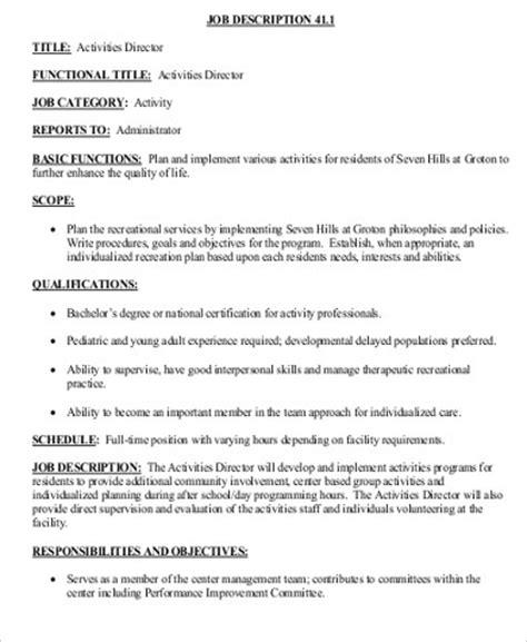 activity director description sle 8 exles in word pdf
