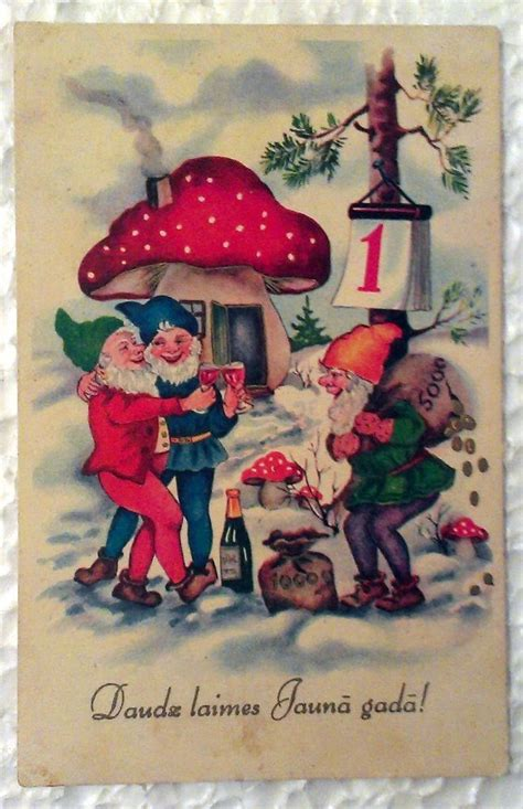 vintage postcard   year champagne gnomes gold