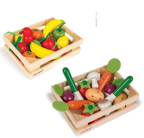 x fruits and vegetables janod wooden play food crate fruit and vegetables 4y ebay